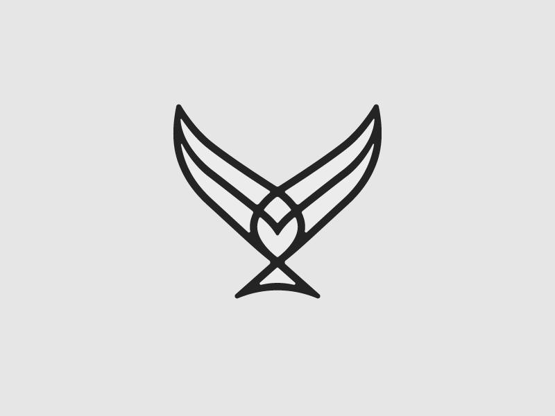 Descending Bird badge mark line swallow dive bird eagle icon logo design