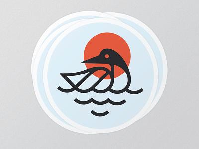 Northern Minnesota Sunset color stroke mono line bird loon sticker minnesota sticker mule