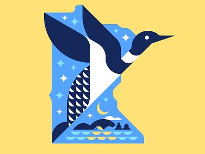 Spirit of the North (updated) cabin vector minimal loon minnesota illustration design