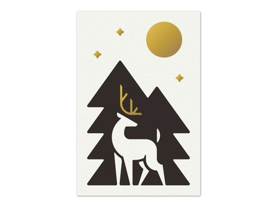 Night Stag minnesota nature branding letterpress foil illustration stag design