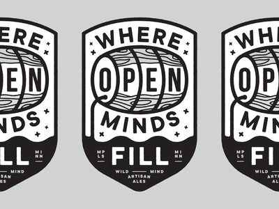 Open Minds brewery icon minnesota typography lockup illustration vector design identity branding logo