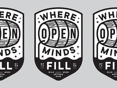 Open Minds brewery icon minnesota typography lockup illustration vector design identity branding logo