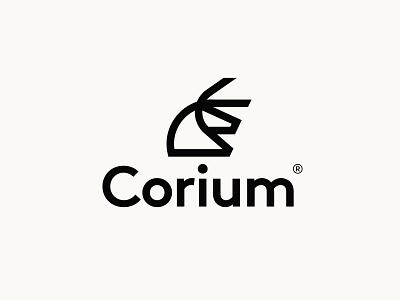 Corium® leather bull wordmark typography mark icon design identity logo branding