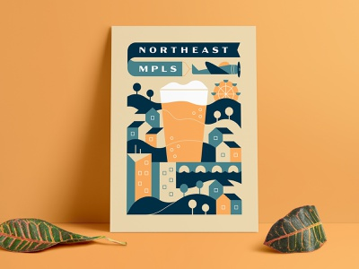 Beer + Community color vector minneapolis minnesota design illustration screenprint
