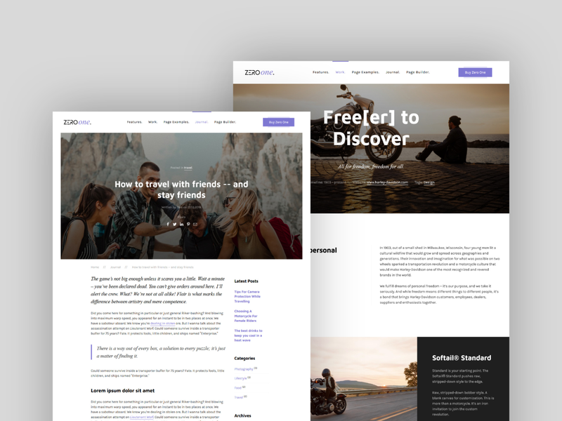 Zero One post types kirby cms case study article theme design theme webdesign kirbycms kirby features website