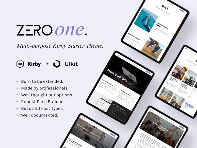The Zero One webdesign base theme web developer web design page design uikit landing features layout website kirby kirby cms
