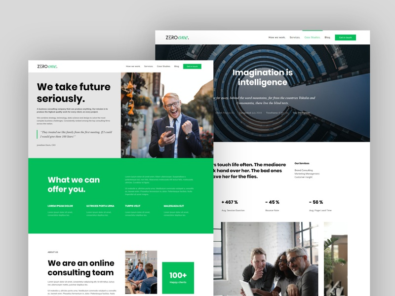 Zero One Consulting webdesign theme kirby cms kirby layout landing clean features website
