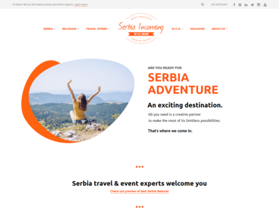 Website Freshen Up serbia event dmc simple screen tourism landing web travel clean website