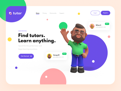 Landing Page Design warfield branding 3d artwork figma designs tutor design trends icons minimal purple clean ux design ux ui design ui 3d animation person 3d art 3d landing page