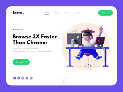 Concept For Brave Browser ✌🏻 purple graphic typography animation warfield uiux uidesign ui uxdesign ux web minimal clean website 3d character 3d