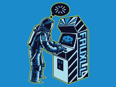 Space Invader video game astronaut illustration pixel game arcade space