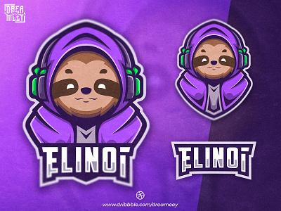 Elinoi Sloth Mascot Logo sloth headset sloth gaming esport mascot gaming logo streaming streamer sloth twitch logo twitch mascot design gaming illustration sport mascot logo esport logo mascot logo game esport brand