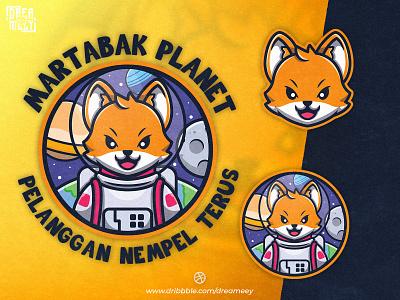 Martabak Planet Fox Astronaut Mascot Logo astronomy sport fox cartoon fox icon earth planet food branding logo illustration character mascot logo mascot astronaut fox mascot fox astronaut fox illustration fox logo fox brand