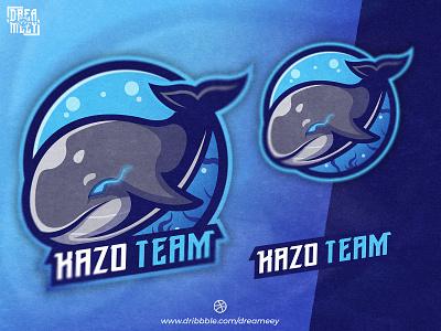 Kazo Team Whale Mascot Logo gamers esports sports logo typography team logo twitch logo twitch gaming whale logo whale sport esport logo mascot logo game esport mascot logo brand