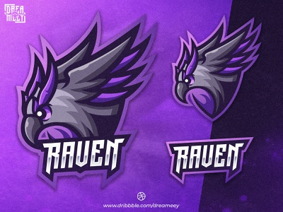 Raven Mascot Logo raven illustration raven cartoon character mascot design illustration logo gaming logo game eagle crow logo esport gaming sport twitch logo esport logo mascot logo esport mascot logo brand