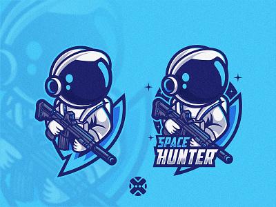 Space Hunter Mascot Logo esport astronaut space hunter hunter spaceman space mascot logo esport logo character illustration mascot logo brand