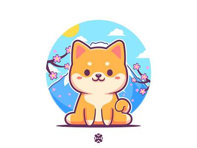 Shiba Inu with Mount Fuji Sakura Blossoms background 🗻🌸🐕 character design mascot character puppy japanese japan background illustration design sakura fuji mountain mount fuji dog character cute mascot shiba inu shiba