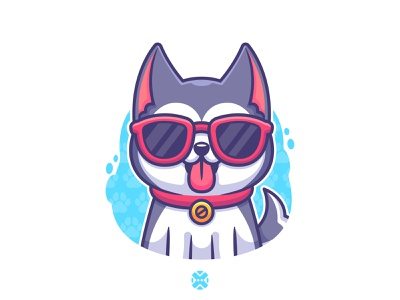 Cool Husky 😎 cute dog sunglasses smile logo cartoon character design cute dog design character illustration mascot husky