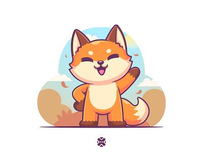 Fox autumn season background 🦊🍂🍁 flat cartoon vector brand cute autumn fall design illustration character mascot animal fox