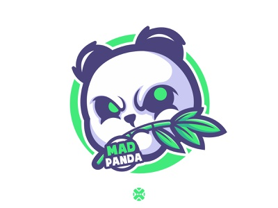 Mad Panda nature zoo white black bamboo cute brand esport illustration character mascot logo logo mascot animal panda