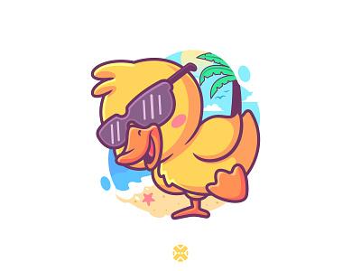 Summer Duck 🐤🏖️☀️ outline flat funny logo colorful vector animal design illustration character mascot cute cartoon beach summer duck