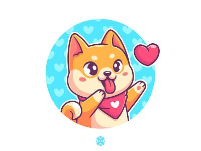 Shiba Love ❤️ heart animal pet happy cartoon love puppy background character design design illustration character logo mascot cute dog shiba inu shiba