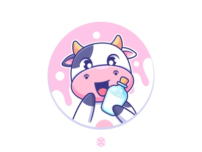 Cow with milk 🐄🍼 cute character character design background design mascot character cute cow cow milk animal cartoon cute illustration character logo mascot milk cow