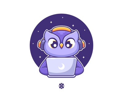 Owl playing laptop 🦉🌙⭐ game owl gaming cartoon cute design character design cute character cute owl night star background illustration logo mascot character animal laptop owl