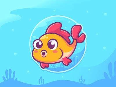 Fish with deep sea background 🐟 aquarium cute fish cartoon cute animal character design mascot character sea background design character illustration logo mascot fish