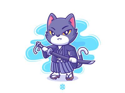 Cat Katana 😼🔵 cute animal pet line flat kimono water japanese japan katana design character design cartoon illustration character logo mascot kitty kitten cat