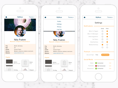 Daily UI 7 – Settings settings mobile 7 challenge dailyui