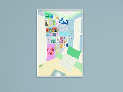 Green room procreate ipad drawing illustration