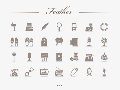 Feather Set. Live. icon glyph retro radio tumblr twitter moleskine shoes photoshop foursquare archive linkedin googleplus store forrst tutorial home attach phone about search blog mail