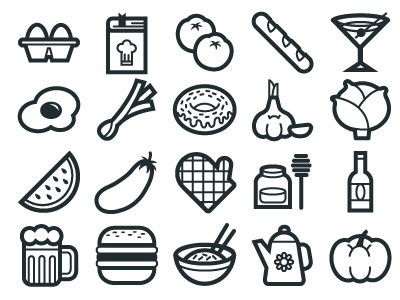 Food Icon Set for graphic stock souce fruit vegetables vector drinks beer icon food