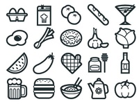 Food Icon Set for graphic stock