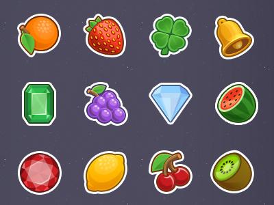 Slot Machine Icons photoshop gems fruit casino slot machine icon design icon