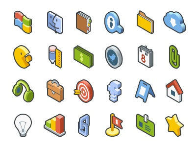 Isometric Icon Set idea headphones folder calendar facebook search windows mac isometric smm development web