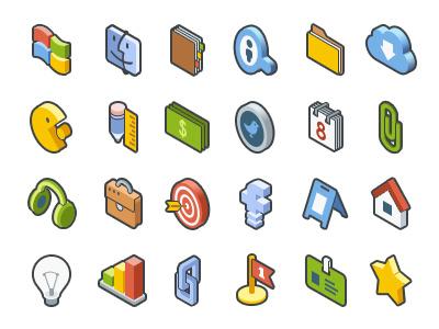 Isometric Icon Set idea headphones folder calendar facebook search windows mac isometric smm development web