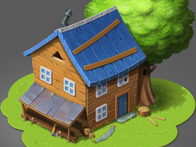 Woodcutter's House building house blue game green woodcutter wood tree pixel perfect cute isometric photoshop