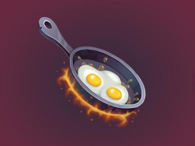 Frying pan fire eggs pan painting game art game illustartion