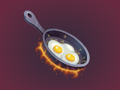 Frying pan fire eggs pan painting game art game illustartion