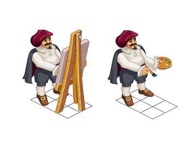 Isometric Painter artist painter illustartion vector game art game charachter isometric