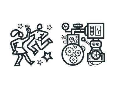 Simple Icons mechanism invention dance vector icon