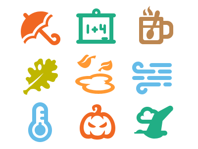 Autumn Associations.  autumn icon vector shape school bird pumpkin rain glyph mug wind fall umbrella
