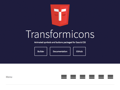 Transformicons development web design animation symbols ui patterns ui symbols buttons icons css html javascript open source