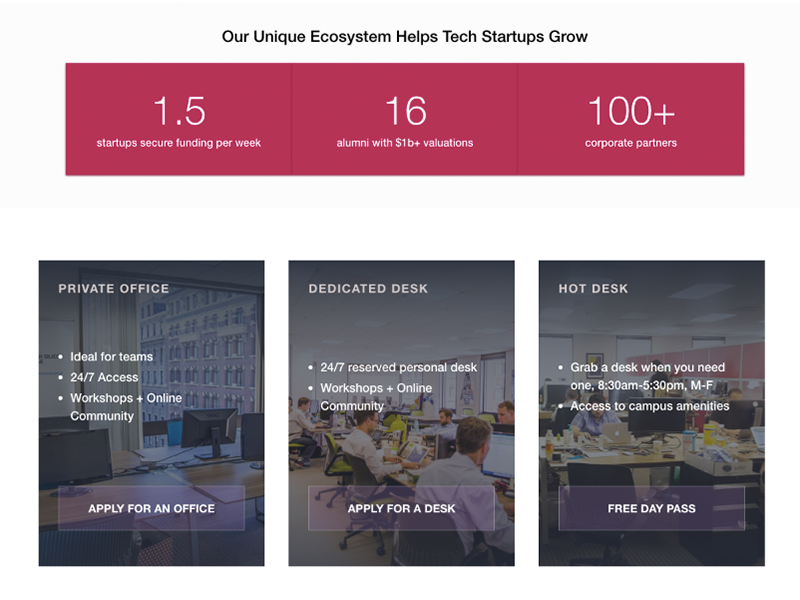 RocketSpace Tech Startup Panels cowork marketing cta flexbox css html layout typography design web design
