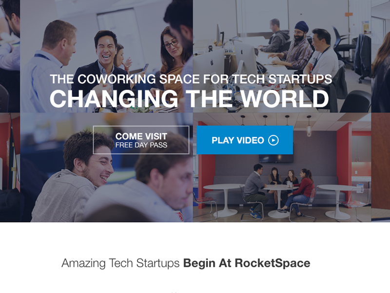 RocketSpace Tech Startup Masthead cowork flexbox marketing css html design photography cta typography layout web design