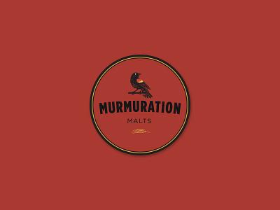 Murmuration Round Sticker : Gold/Black on Red vector typography sticker blackbird redwing malting malt layout design branding bird beer