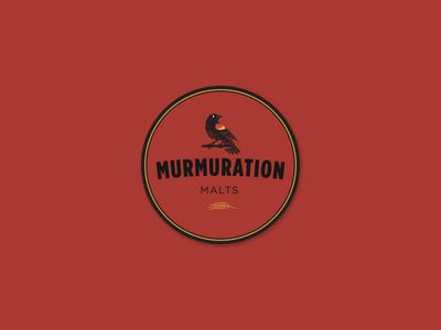 Murmuration Round Sticker : Gold/Black on Red