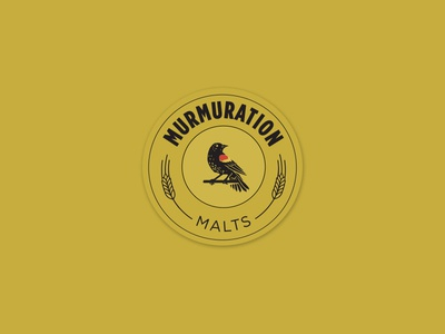 Murmuration Round Sticker : Black on Gold beer bird branding design layout malt malting redwing blackbird sticker typography vector